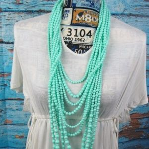 Mint Green Multi Strand Bead Necklace